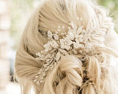 Bridal Hair Comb Handcrafted with beautiful Off White Flowers, Rhinestone Leaves And Pearl Babys Breath Accents