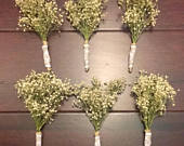 6 HandMade Wedding Boutonnieres Dried Babys Breath Twine With White Lace And PearlTopped PinsRustic Vintage