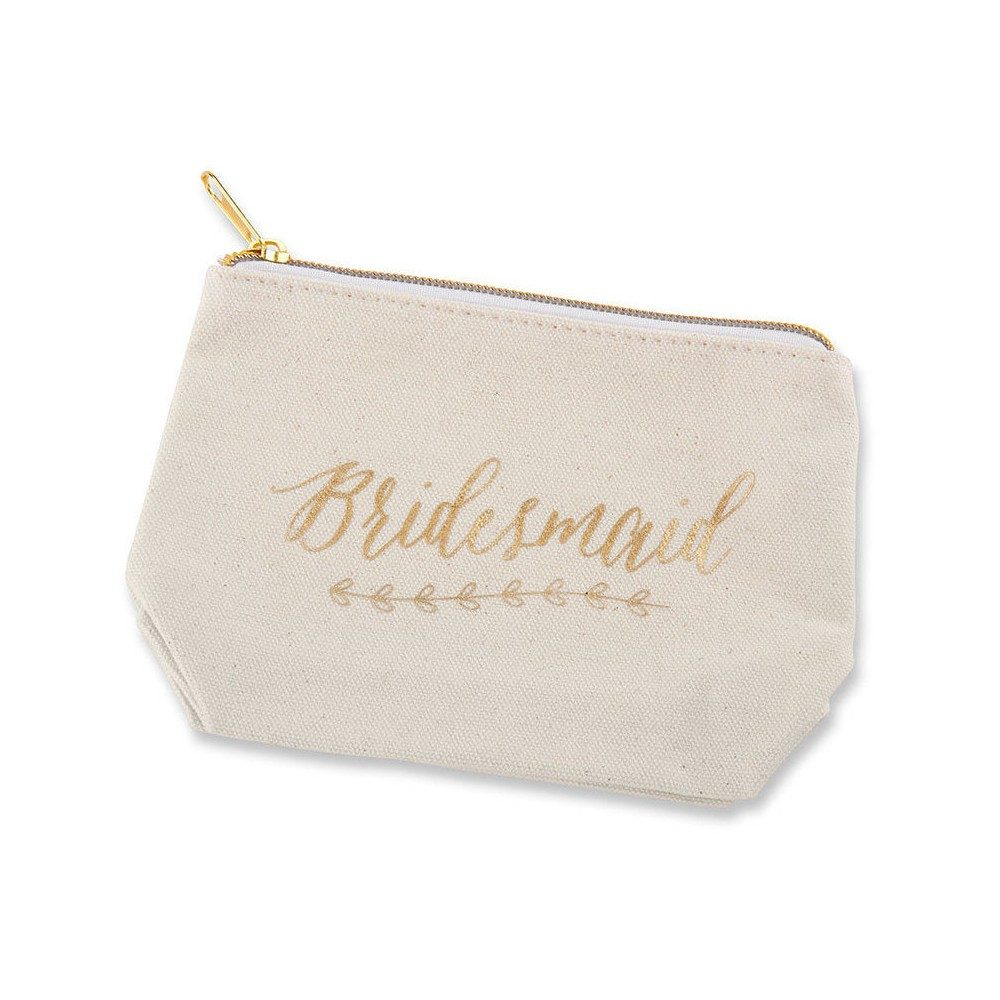 "6ct Foil ""Bridesmaid"" Canvas Makeup Bag Gold"