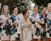 Bridesmaid Robes Magnolia Robe Collection Bridal Wedding Gifts Set of Soft Satin Robes with Floral Bridal Party Robes Wedding Robes