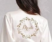 Wreath Style Robes Personalized Satin Robe Bridesmaid Robes Personalized Bridal Robe Personalized Bridesmaid Robes Bridesmaid Robe