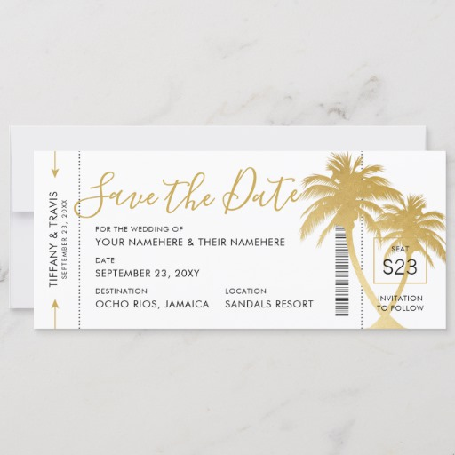Gold Palm Boarding Pass Ticket Save the Date Card
