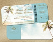 Dusty Blue Wedding Boarding Pass, Quality Save the Dates, Turquoise