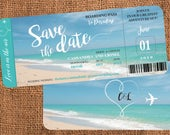 Custom Perfect Boarding Passes for Wedding Guests to Save your Date, Turquoise