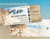 Beach Hut Boarding Pass Save the Dates, Gold Glitter Look on Sides, Destination Weddings