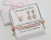To my Mom, Mother of the Bride gift, Mother of the Groom set, bonus mom gift, God mother Stepmother wedding earrings Mother in law bracelet