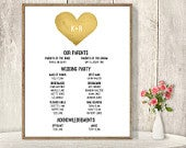 Wedding Welcome Sign DIY / Wedding Party Sign, Bridal Party Program / Gold Watercolor Heart Printable File or Printed Shipped