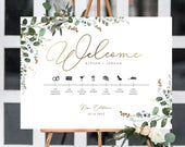 Wedding Timeline Sign, Poster, Editable, Day Of, Events, Greenery, Eucalyptus, Rustic, Gold, A1, A2, 18x24,24x36, Country, Barn, Icons, Cute