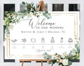 Greenery Wedding Timeline Sign Template, Wedding Ceremony, Order of Events, Floral Wedding Itinerary Sign, Editable Template, CORJL, 87