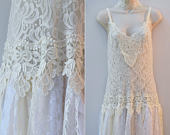 Bohemian Lace Tulle Gown Bridal Boho Dress White/Ivory Lace Wedding Dress Bridal Gown Wedding Dress, Bust: 3438