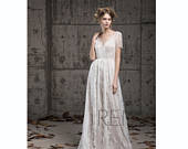 Wedding Dress Boho Lace Bridal Dress Off White Short Sleeve Illusion V Neck Wedding Dresses (LW207)