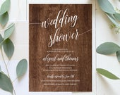 Wedding Shower Template, Couples Shower Invitation, Instant Download, Printable Rusic Chalkboard Shower Invite, Editable Template 020113BS