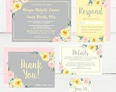 Yellow Floral Wedding Invitation Template, Spring Modern Pink Printable Invite Suite, Editable Text Instant Download DIY Invites Set PDF