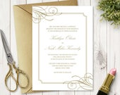 Wedding Invitation Template Classy Luxe, Old Gold. Elegant and Simple DIY Printable Invite, Fully Editable. Templett, Instant Download.