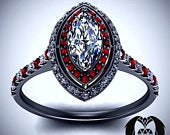 7 Deadly Sins Wrath Inspired Diamond Ruby Black Gold Engagement Ring