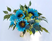 Rustic wild sunflower bouquet, Turquoise sunflower, country chic, Fall Spring Summer wedding bouquet, Burlap and Lace bouquet, Teal Blue