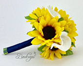 Choose Calla Lily Ribbon Color Sunflower and Calla Lily Bouquet, Sunflower Bridal Bouquet, White Calla Lily, Sunflower Wedding, Ivory