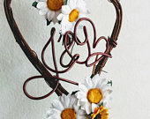 Country Floral Cake Topper In White Daisies, Yellow Sunflowers And Your Initials