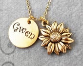 Sunflower Necklace STAINLESS STEEL Name Necklace Engraved Necklace Personalized Necklace Custom Necklace Charm Necklace Pendant Necklace