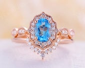 London blue topaz engagement ring set Vintage engagement ring Antique rose gold wedding ring stacking art deco Women Bridal Anniversary gift