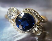 Antique Engagement Ring 1910s Edwardian Engagement Ring Sapphire Engagement Ring Antique Ring Edwardian Ring 14K Gold Platinum Ring