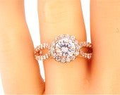 14K Rose Gold Halo Round White Sapphire Diamond Engagement Ring Wedding Ring Promise Ring Anniversary Ring Antique Ring Art Deco Ring White