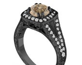 1.56 Carat Fancy Champagne Brown Diamond Engagement Ring, Unique Wedding Ring Vintage Antique Style Hand Engraved 14K Black Gold handmade