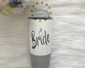 Bride Glitter Vacuum Sealed Tumbler // Bride Glitter Cup // Engagement Gift // Bride Gift // Bride to be Tumbler // Mrs // Future Mrs //Ring