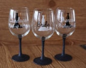 Set of 14 bridesmaid glasses, set of 14 glitter stem wine glasses, bridesmaid glass set, set of 14