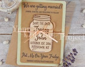 Mason Jar Save the Date Magnet, Wood Save the Date, Rustic Save the Date, Wooden Save the Date, Wedding Invitation Set, Custom Save Our Date