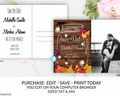 Fall Rustic Save the Date Card Postcard Template Editable Printable Leaves Country Mason Jar Vintage Fireflies, Save the Date, Rustic, DIY