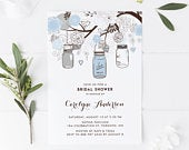 Printable Bridal Shower Invitation Blue and Gray Mason Jars and Flowers Invitation Template Editable Bridal Brunch Instant Download