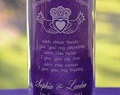 Personalized Claddagh and Irish Celtic Blessing Engraved Glass Wedding Candle Holder/Vase Two Sizes and Designs Available (5)