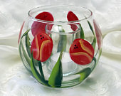 Hand Painted Red Tulip Fish Bowl Candle Holder