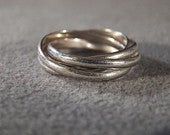 Vintage Sterling Silver 4 inter locking Rolling Eternity Wedding Band Ring, Size 5.5 RL