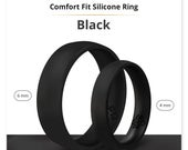 Silicone Wedding Ring Band True Comfort Fit in Smooth Black 4mm or 6mm