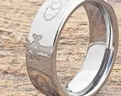Celtic Sideways Cross Purity Ring, Trinity Ring, Triquetra Jewelry, Signet Ring, Tungsten Ring, Unique Wedding Band, Celtic Wedding Band