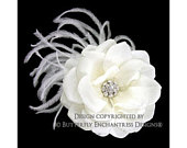 Feather Hair Flower, Wedding Fascinator, Bridal Hair Accessory Ivory Natalia Rose Flower Feather Hair Clip