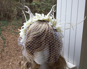 Adult / Child Fairy Flower Crown Fascinator Headband White Horns, White Flowers Feathers w/ French Net Birdcage Veil Wedding