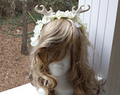 Adult / Child Fairy Flower Crown Fascinator Headband Pearl Horns, White Flowers, Cream Feathers, Cosplay, Costume, Faire, Wedding