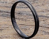 Thin Stackable Ring, Black Tungsten Ring, Dainty Black Ring, Tungsten Wedding Band, Black Wedding Band, Tungsten Thin Ring, Petite Ring