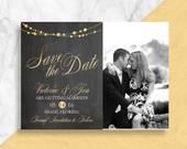 Chalkboard Winter New Years Eve Photo Save the Date Card Light, Love, Christmas, Holiday Wedding DIY PDF or Printed Cards