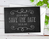 Save The Date Cards 5 x 7 Chalkboard Wedding Announcement Cards Save The Dates Personalized Save the Dates Photo Cards satd277