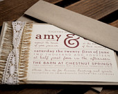 Burlap Lace Rustic Wedding Invitation Suite PRINTED, CUT PIECES (Assembled by You)