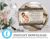 Photo Wedding Invitation Template Instant Download Editable Rustic Wedding Invite With Burlap And Lace