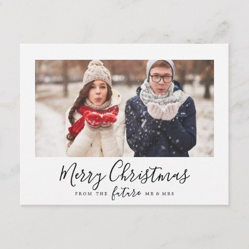 Minimalist Merry Christmas Save the Date Photo Holiday Postcard