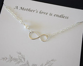 2 Mother Infinity Necklaces, Infinity Jewelry, Mom Gift, Card, White Pearl, Sterling Silver, Mother of the Bride, Mother of the Groom