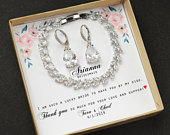 Silver earrings Bridesmaid Bracelet LEAF Teardrop necklace gift set Wedding bridal jewelry personalized necklace Mother bride groom Gift