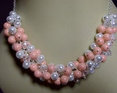 Pink Coral White Pearl and Crystal Cluster Necklace, Wedding Mothers Day Christmas Mom Sister Grandmother Bridesmaid Girlfriend Jewelry Gift