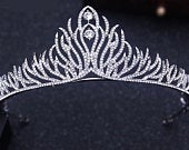 Clear Crystal Rhinestone Silver Tiara Princess Prom Wedding Bridal Hair Jewelry Quinceanera Pageant PS1010